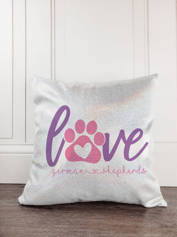 Love German Shepherds Dog Glitter Sparkle Throw Pillow Cover - Incandescently - Glitter Sparkle Throw Pillows - Farmhouse Decor