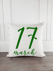 March 17 St. Patrick's Day Throw Pillow - Incandescently - Glitter Sparkle Throw Pillows - Farmhouse Decor