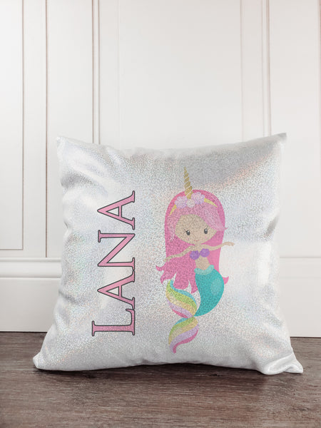 Mermaid with Horn Personalized Glitter/Sparkle Pillow - Incandescently