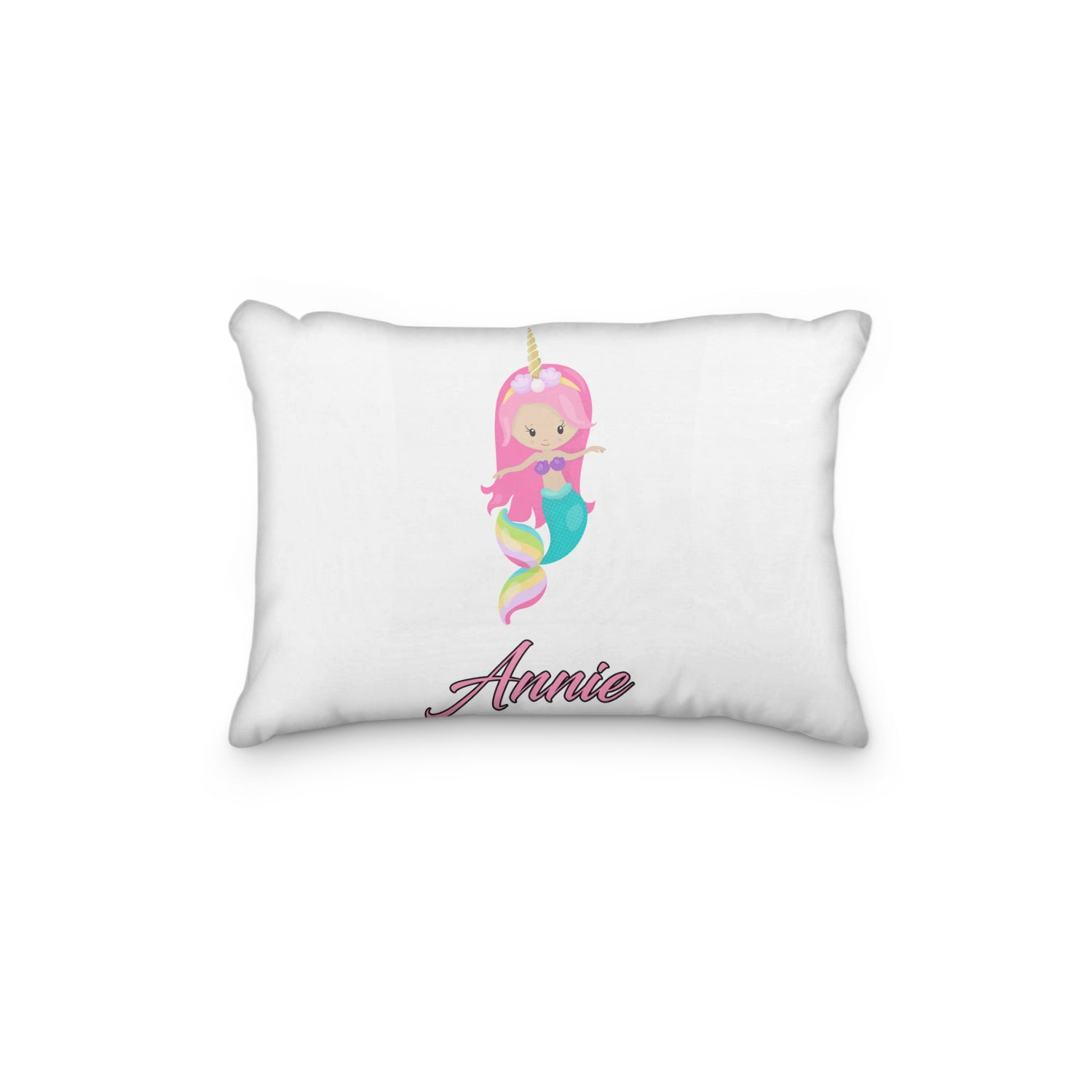 Mermaid Unicorn Rainbow Pink Personalized Pillowcase - Incandescently