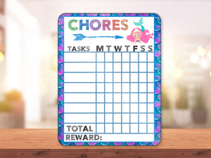 Mermaid Pink Hair Chore Chart - incandescently