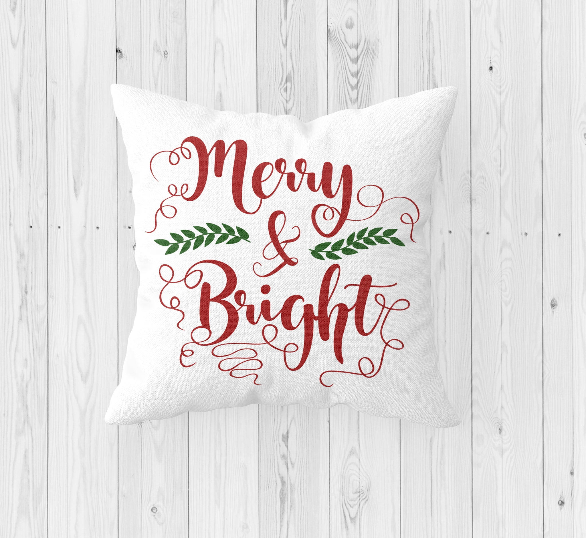 Merry and Bright Christmas Throw Pillow - Incandescently - Glitter Sparkle Throw Pillows - Farmhouse Decor