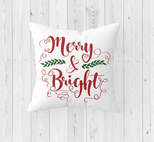 Merry and Bright Christmas Throw Pillow - Incandescently