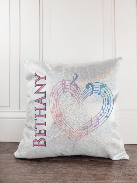 Music Notes Personalized Glitter/Sparkle Throw Pillow - Incandescently