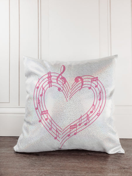 Music Notes Personalized Glitter Sparkle Throw Pillow - Incandescently