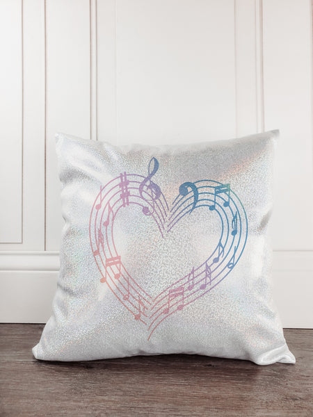 Music Notes Personalized Glitter Sparkle Throw Pillow - Incandescently - Glitter Sparkle Throw Pillows - Farmhouse Decor
