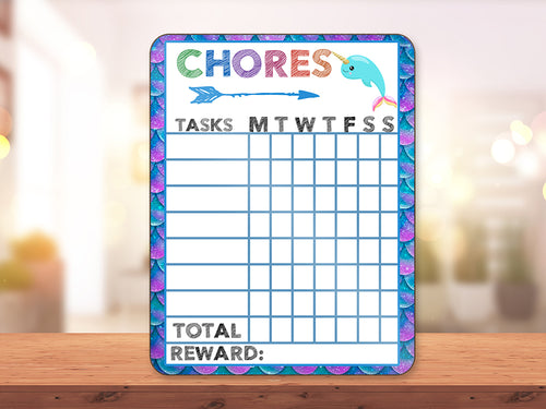 Narwhale Animal Chore Chart - Incandescently