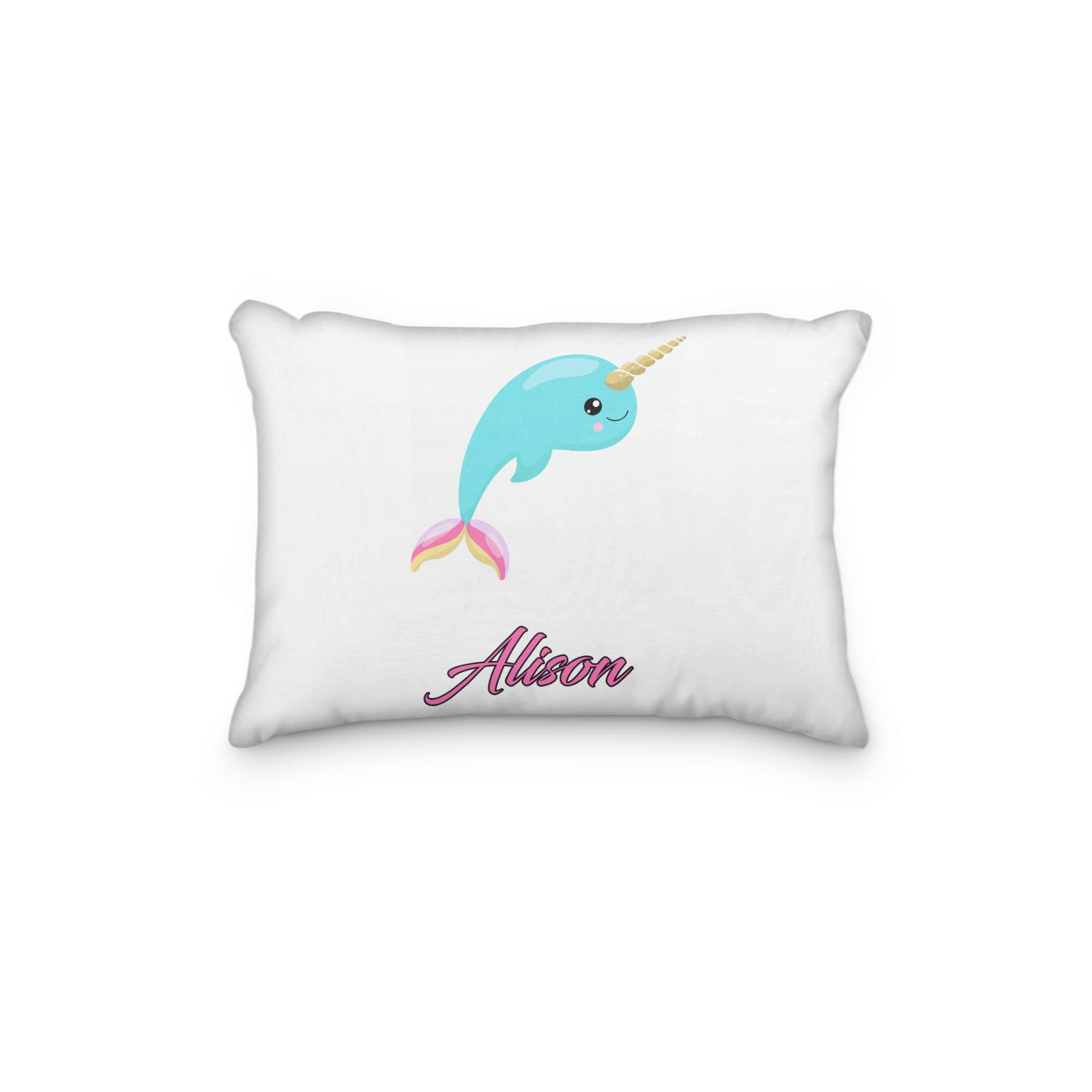 Narwhale Unicorn Rainbow Horn Personalized Pillowcase - Incandescently
