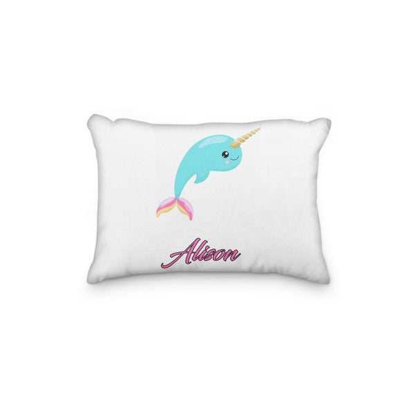 Narwhale Unicorn Rainbow Horn Personalized Pillowcase - Incandescently - Glitter Sparkle Throw Pillows - Farmhouse Decor