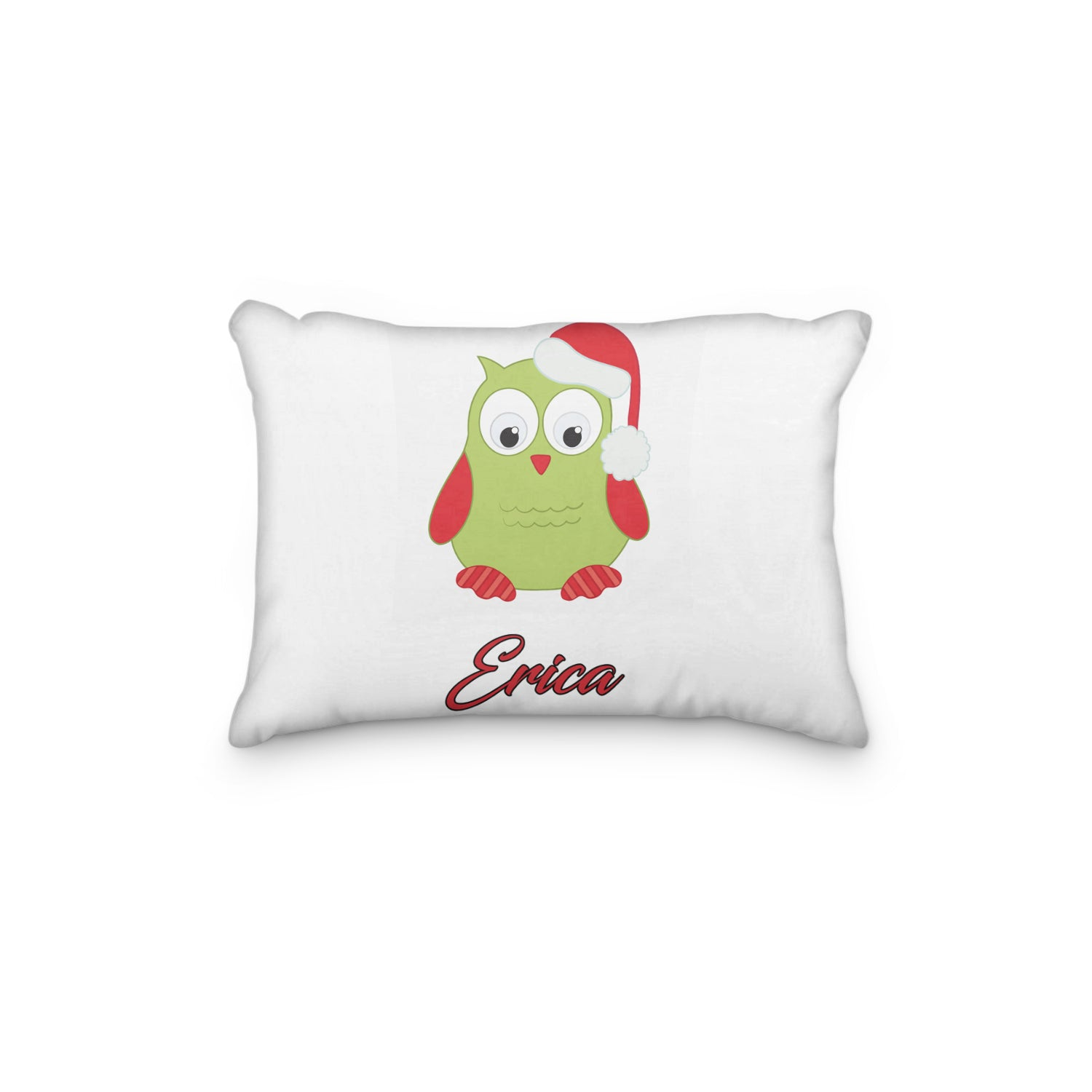 Owl with Christmas Santa Hat Personalized Pillowcase - Incandescently