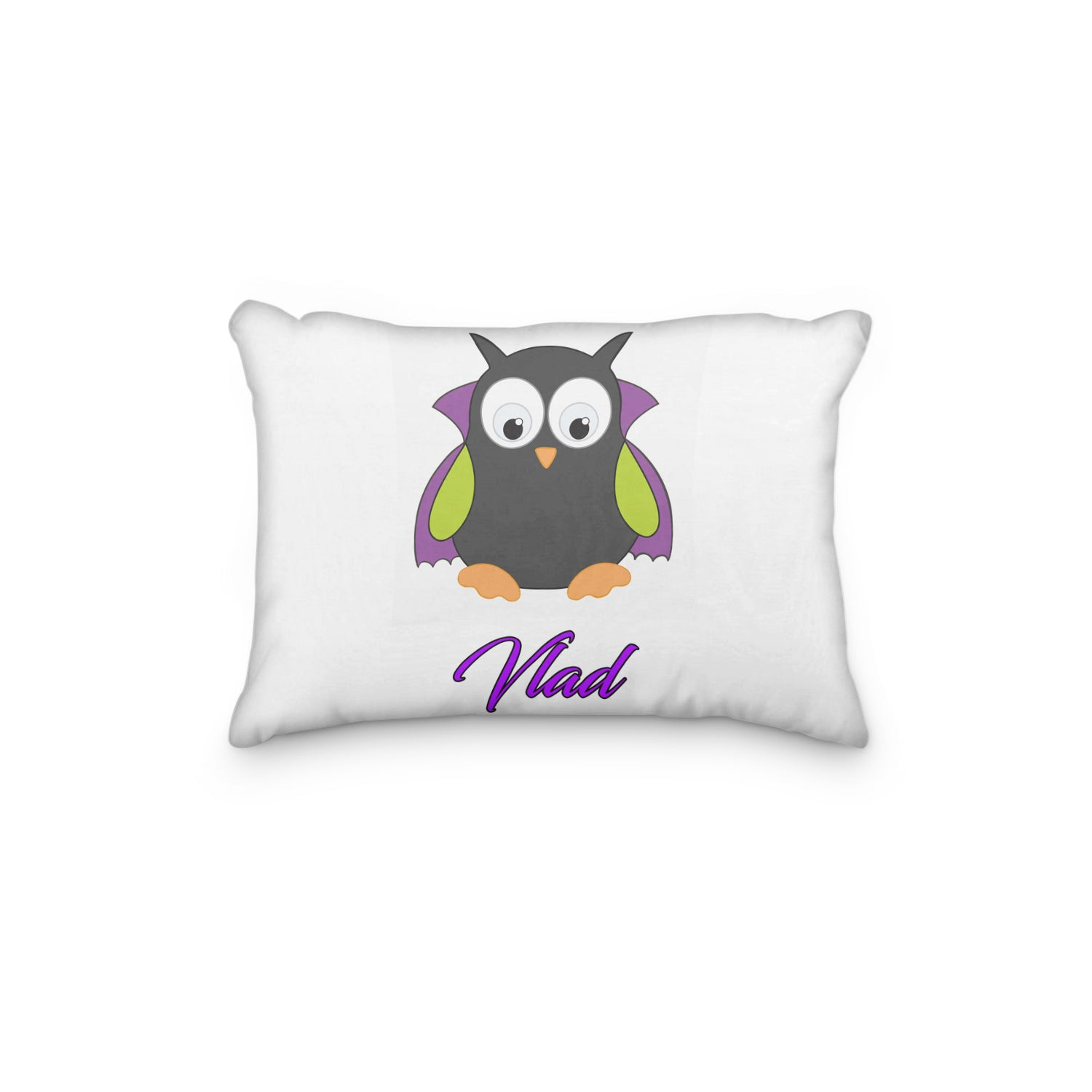 Owl Vampire with Cape Personalized Pillowcase - Incandescently - Glitter Sparkle Throw Pillows - Farmhouse Decor