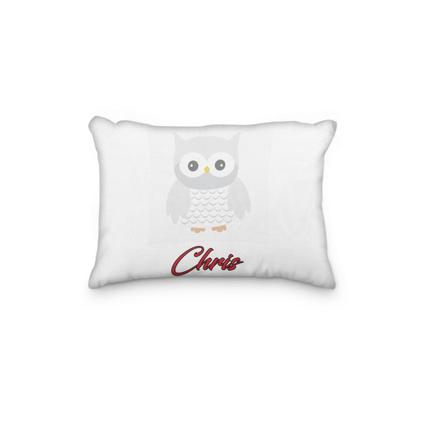 Owl White Gray Personalized Pillowcase - Incandescently - Glitter Sparkle Throw Pillows - Farmhouse Decor