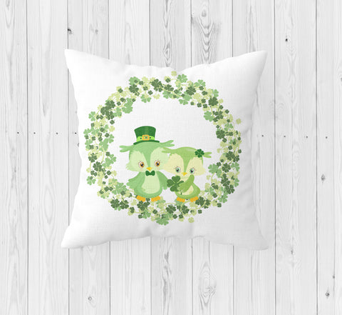 Owl Be Your Girl St. Patrick's Day Throw Pillow - Incandescently - Glitter Sparkle Throw Pillows - Farmhouse Decor