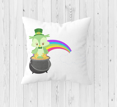 Owl with Rainbow and Pot of Gold St. Patrick's Day Throw Pillow - Incandescently - Glitter Sparkle Throw Pillows - Farmhouse Decor