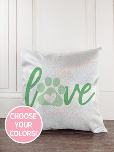 Pawprint Glitter Sparkle Throw Pillow - Incandescently