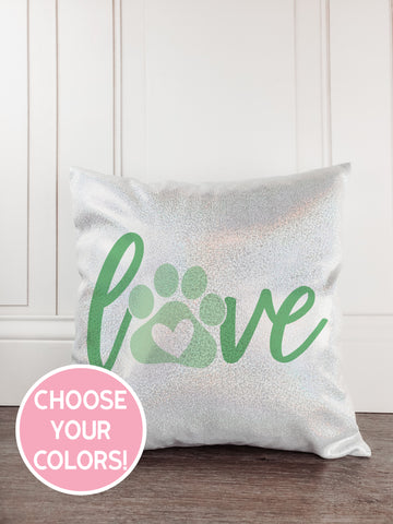 Pawprint Glitter Sparkle Throw Pillow Cover - Incandescently - Glitter Sparkle Throw Pillows - Farmhouse Decor