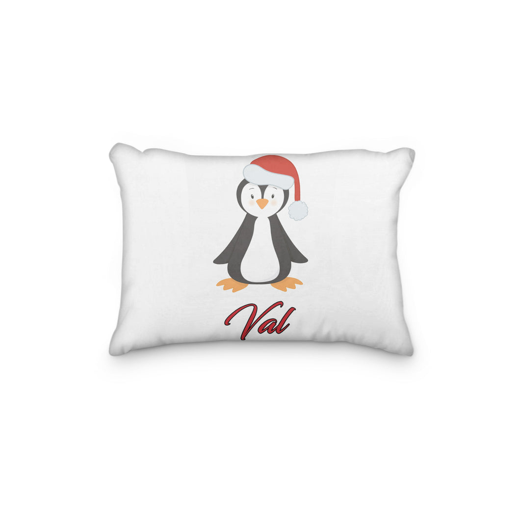 Penguin with Christmas Santa Hat Personalized Pillowcase - incandescently