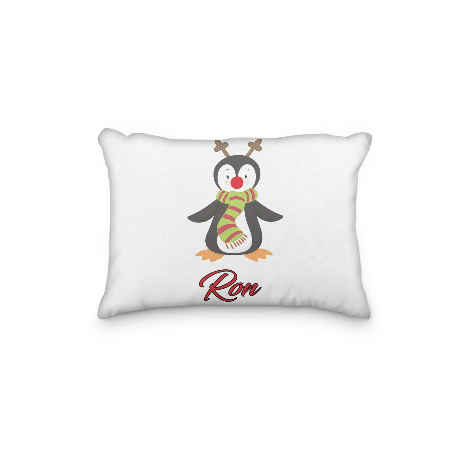Penguin Rudolph Reindeer Personalized Pillowcase - Incandescently