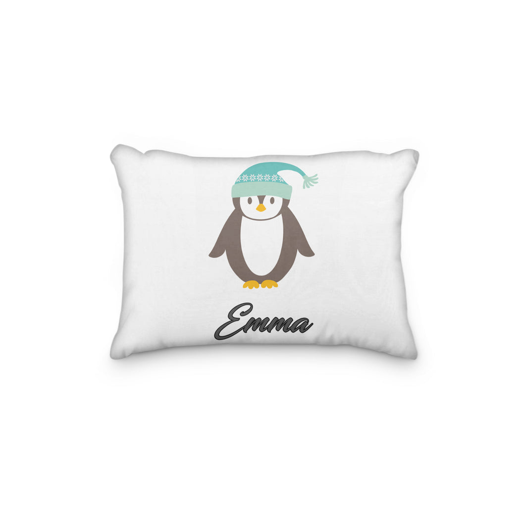 Penguin Winter Hat Personalized Pillowcase - incandescently