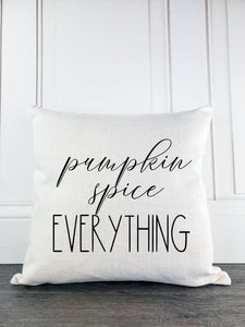 Pumpkin Spice Everything Rustic Farmhouse Halloween Throw Pillow - Incandescently - Glitter Sparkle Throw Pillows - Farmhouse Decor