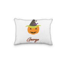 Load image into Gallery viewer, Pumpkin with Dotted Witch Hat Personalized Pillowcase - incandescently