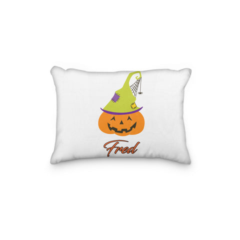 Pumpkin with Spiderweb Hat Halloween Personalized Pillowcase - Incandescently - Glitter Sparkle Throw Pillows - Farmhouse Decor