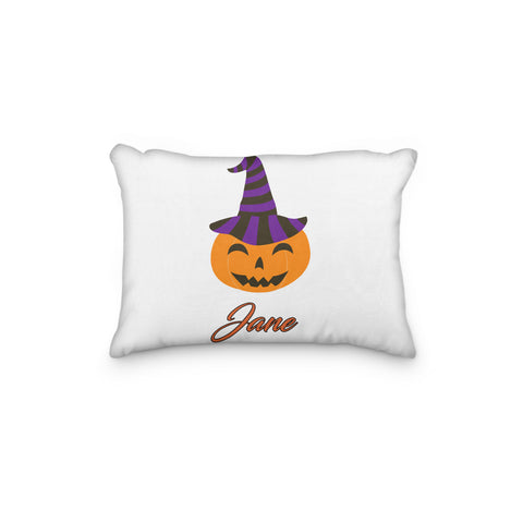 Pumpkin with Striped Hat Halloween Personalized Pillowcase - Incandescently - Glitter Sparkle Throw Pillows - Farmhouse Decor