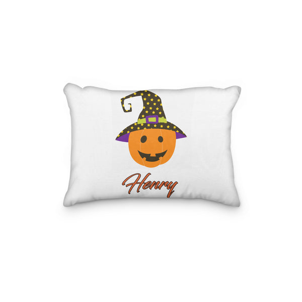 Pumpkin with Dotted Hat Halloween Personalized Pillowcase - Incandescently - Glitter Sparkle Throw Pillows - Farmhouse Decor