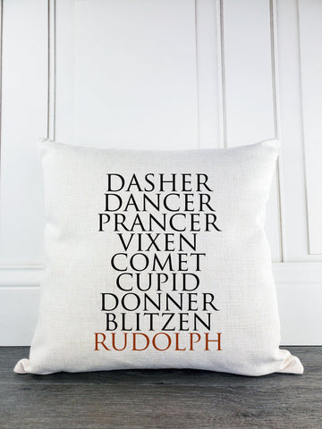Reindeer Names Rustic Farmhouse Christmas Throw Pillow - Incandescently