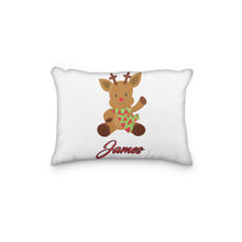 Load image into Gallery viewer, Rudolph Reindeer with Zigzag Scarf Christmas Personalized Pillowcase - incandescently