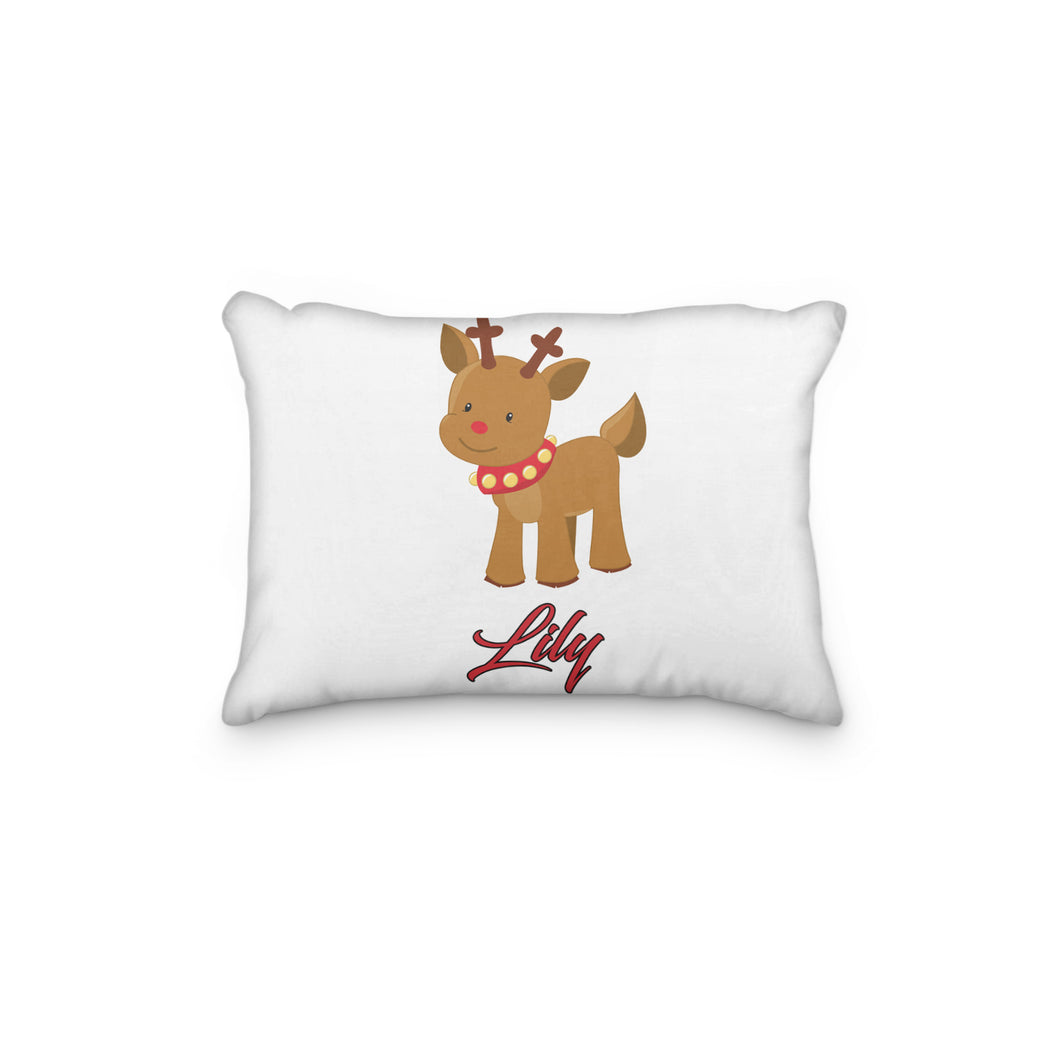 Rudolph Reindeer with Jingle bell Collar Christmas Personalized Pillowcase - incandescently