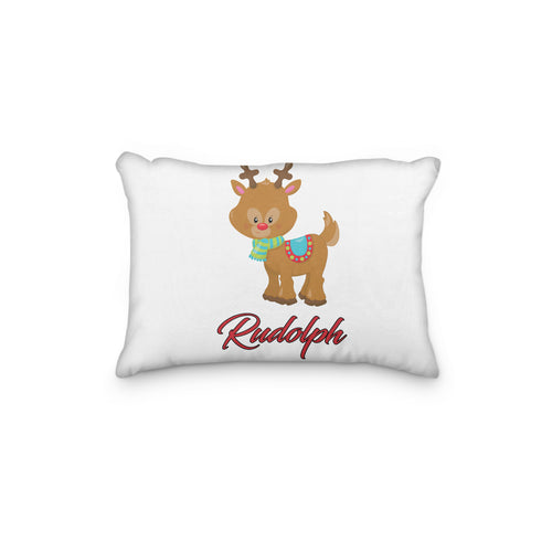 Rudolph Reindeer with Striped Scarf Christmas Personalized Pillowcase - incandescently