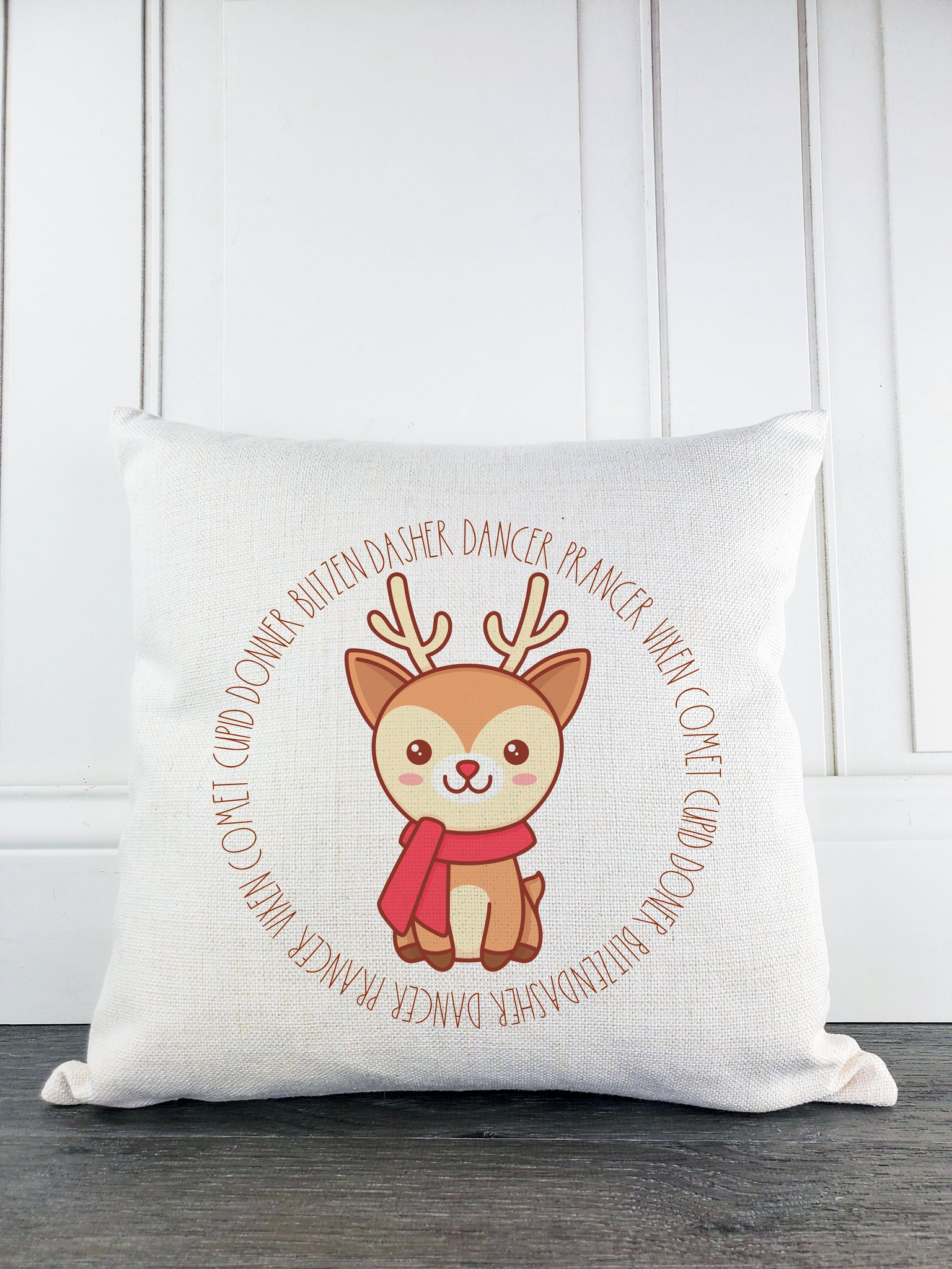 Rudolph the Reindeer with Names Rustic Farmhouse Christmas Throw Pillow - Incandescently