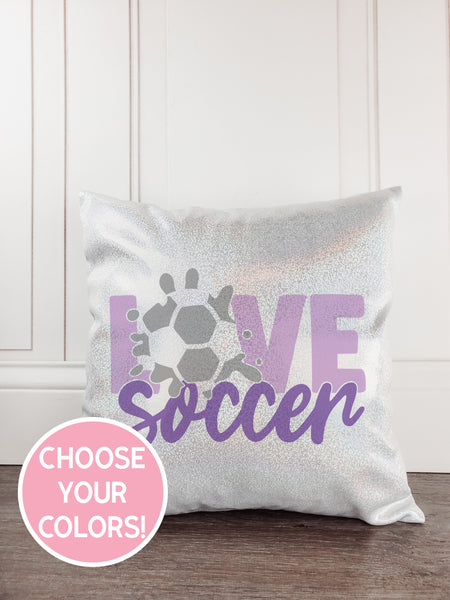 Soccer Glitter Sparkle Throw Pillow - Incandescently