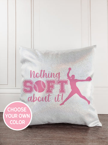 Softball Glitter Sparkle Throw Pillow - Incandescently