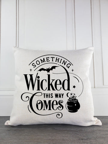 Something Wicked This Way Comes Rustic Farmhouse Halloween Throw Pillow - Incandescently