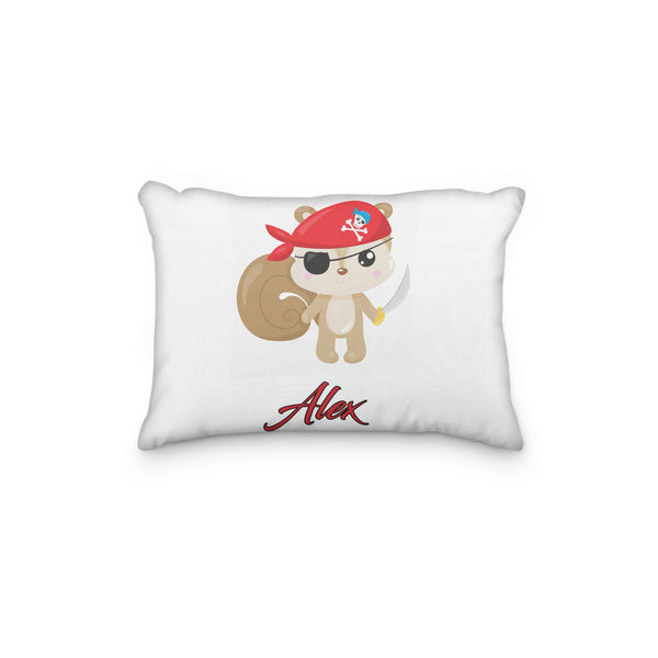 Squirrel Pirate Personalized Pillowcase - Incandescently - Glitter Sparkle Throw Pillows - Farmhouse Decor