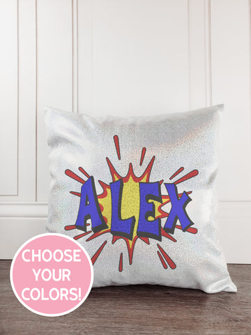 Superhero Boy Glitter Sparkle Throw Pillow Cover - Incandescently - Glitter Sparkle Throw Pillows - Farmhouse Decor