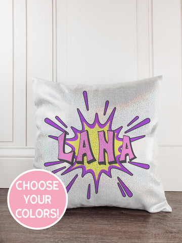 Superhero Girl Glitter Sparkle Throw Pillow Cover - Incandescently - Glitter Sparkle Throw Pillows - Farmhouse Decor