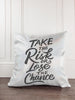 Take the Risk or Lose the Chance Glitter Sparkle Throw Pillow Cover