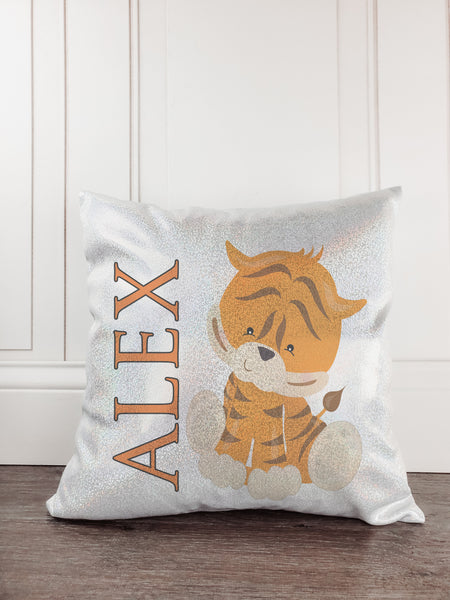 Tiger Personalized Glitter/Sparkle Throw Pillow - Incandescently