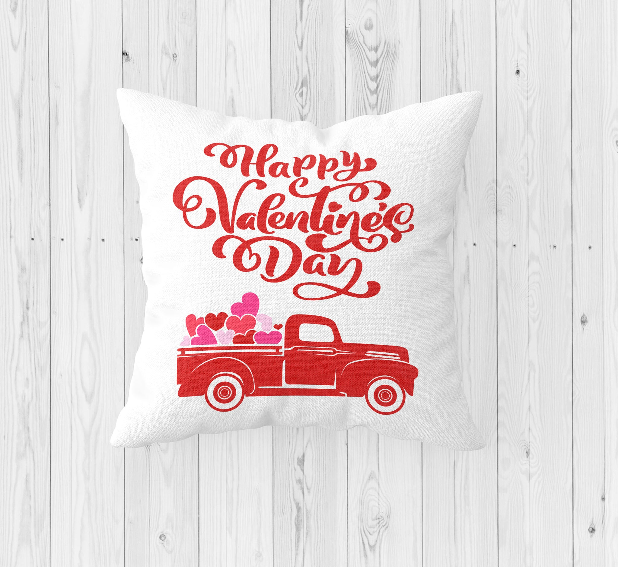 Happy Valentine's Day with Red Truck Throw Pillow - Incandescently