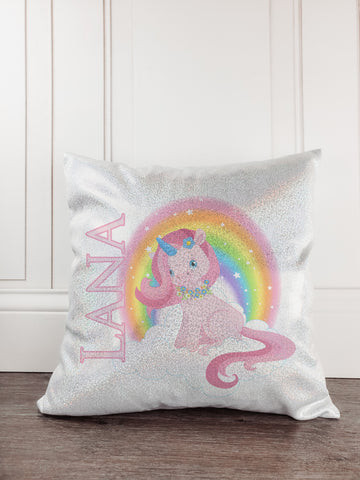 Unicorn with Rainbow Personalized Glitter/Sparkle Pillow - Incandescently