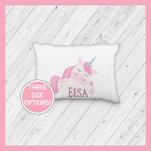 Pink Hair Unicorn Sleeping Personalized Pillowcase  | Springtime | Magical | Mythical | Fairies - Incandescently