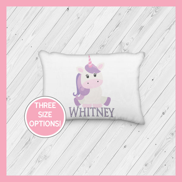 Purple Hair Unicorn Sitting Down Personalized Pillowcase | Springtime | Magical | Mythical | Fairies - Incandescently