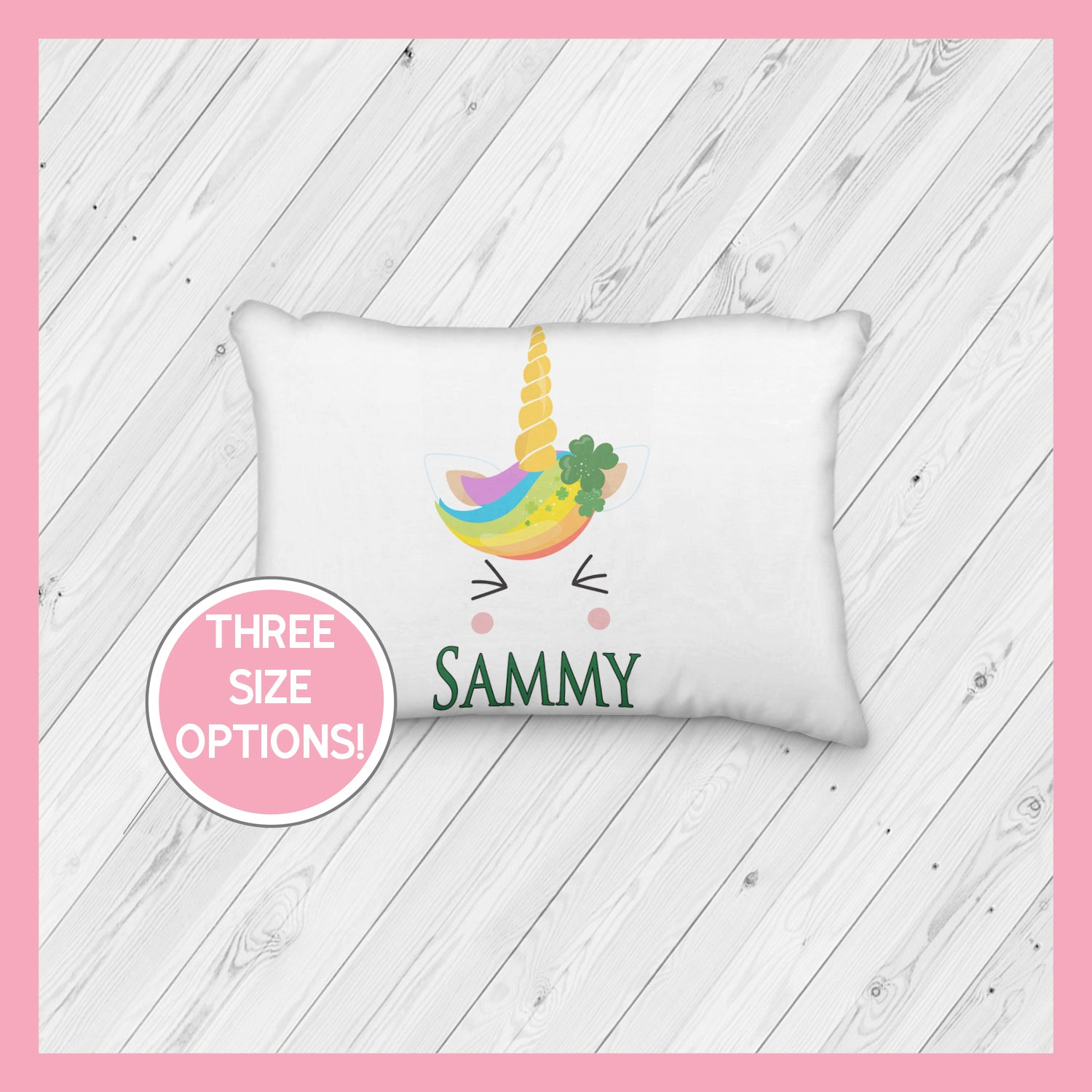 St. Patrick's Day Unicorn Face Rainbow Squee Personalized Pillowcase  | Custom Pillow | St Pattys Day | Green Hair Unicorn | Magical -
