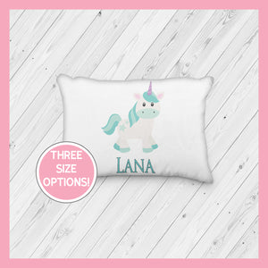 Teal Unicorn Standing  Personalized Pillowcase | Custom Pillow | Mythical | Green Hair Unicorn | Magical - Incandescently - Glitter Sparkle Throw Pillows - Farmhouse Decor