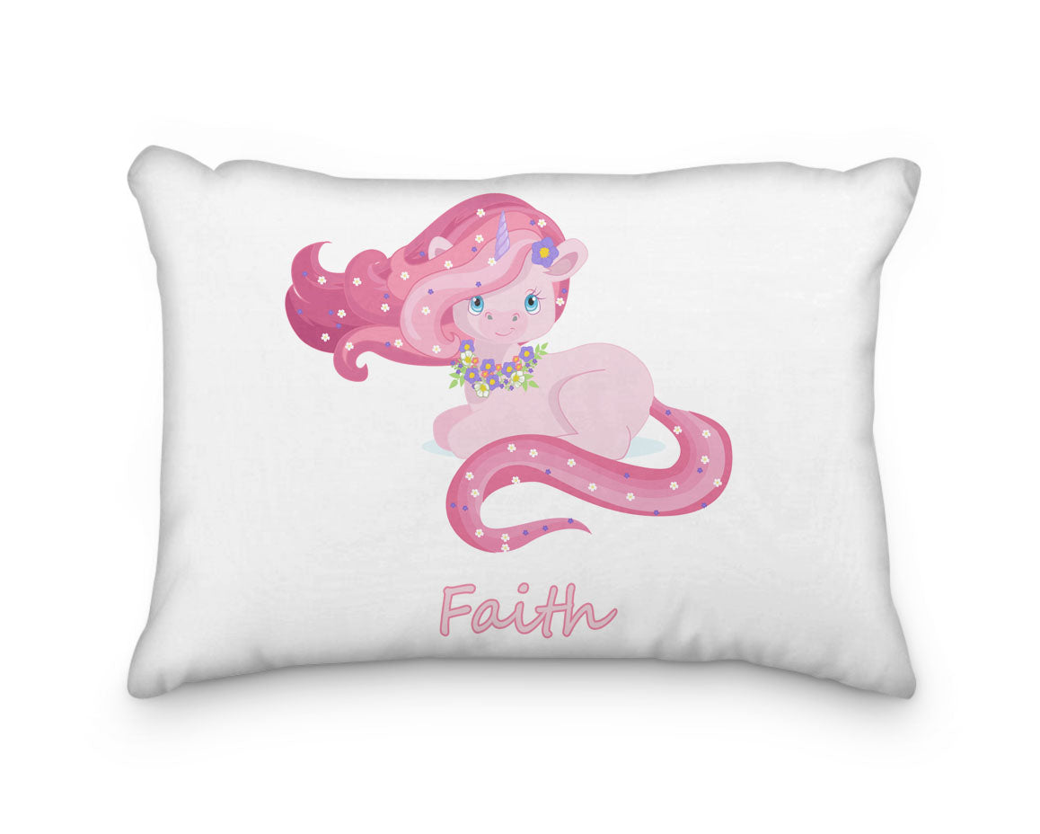 Unicorn Laying Down with Flowers Personalized Pillowcase - Incandescently