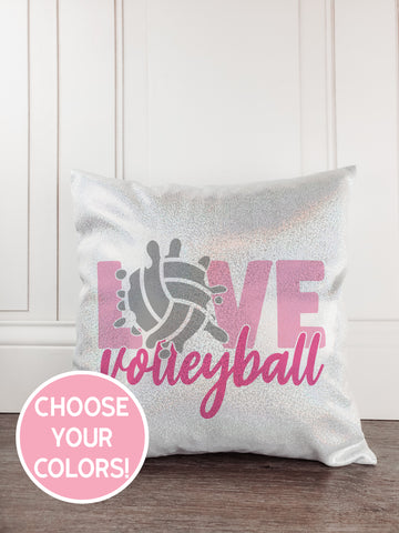 Volleyball Glitter Sparkle Throw Pillow Cover - Incandescently - Glitter Sparkle Throw Pillows - Farmhouse Decor
