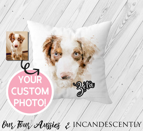 Watercolor Dog Pillow by OurFourAussies - Incandescently